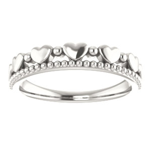 Sterling Silver Stackable Beaded Heart Ring