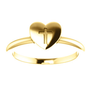 14K Yellow Heart With Cross Ring