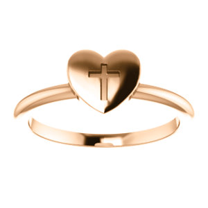 14K Rose Heart With Cross Ring