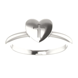 Sterling Silver Heart With Cross Ring