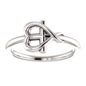 14K White Cross With Heart Youth Ring