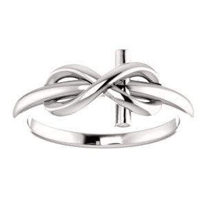14K White Infinity-Inspired Cross Ring