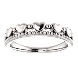 14K White Stackable Beaded Heart Ring
