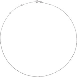10K White 1mm Adjustable Diamond Cut Cable 16-18″ Chain