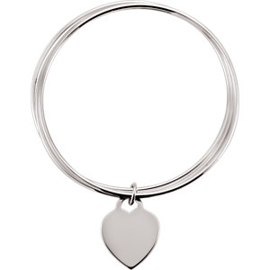 Sterling Silver Triple Bangle 8″ Bracelet With Heart Dangle