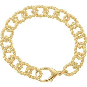 10.75mm Sterling Silver Gold Plated Link Bracelet
