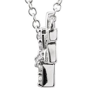 Sterling Silver Cubic Zirconia Double Sideways Cross 18″  Necklace
