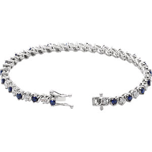 14K White Lab-Grown Blue Sapphire & 1/10 CTW Diamond Line 7″ Bracelet