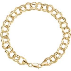 14K Yellow 5.7mm Double Link Charm 7.25″ Bracelet
