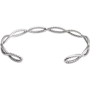 Sterling Silver Rope Cuff Bracelet