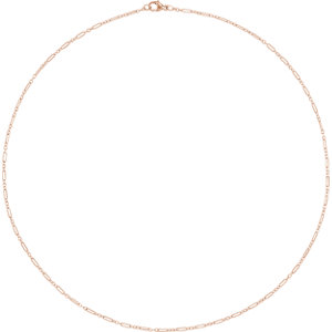 14K Rose 1.6mm Knurled Figaro 16″ Chain With Lobster Clasp