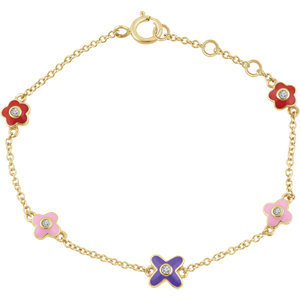10K Yellow .04 CTW Diamond Youth Flower 7″ Bracelet