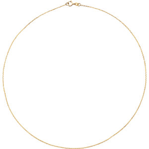 10K Yellow 1mm Diamond Cut Cable 16″ Chain