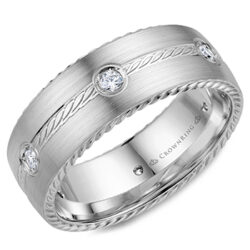 Crown Ring - Men's wedding Band - White Gold, Satin Finish, with Rope Details and Diamonds - WB-001RD8W