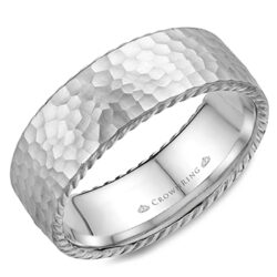 Crown Ring - Hammered White Gold Wedding Band - WB-004R8W
