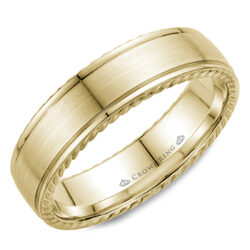 Crown Ring - Men's Yellow Gold Wedding Band - WB-005R6Y