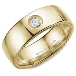 Grown Rings - Men's Diamond and Gold Wedding Band - WB-016RD8Y