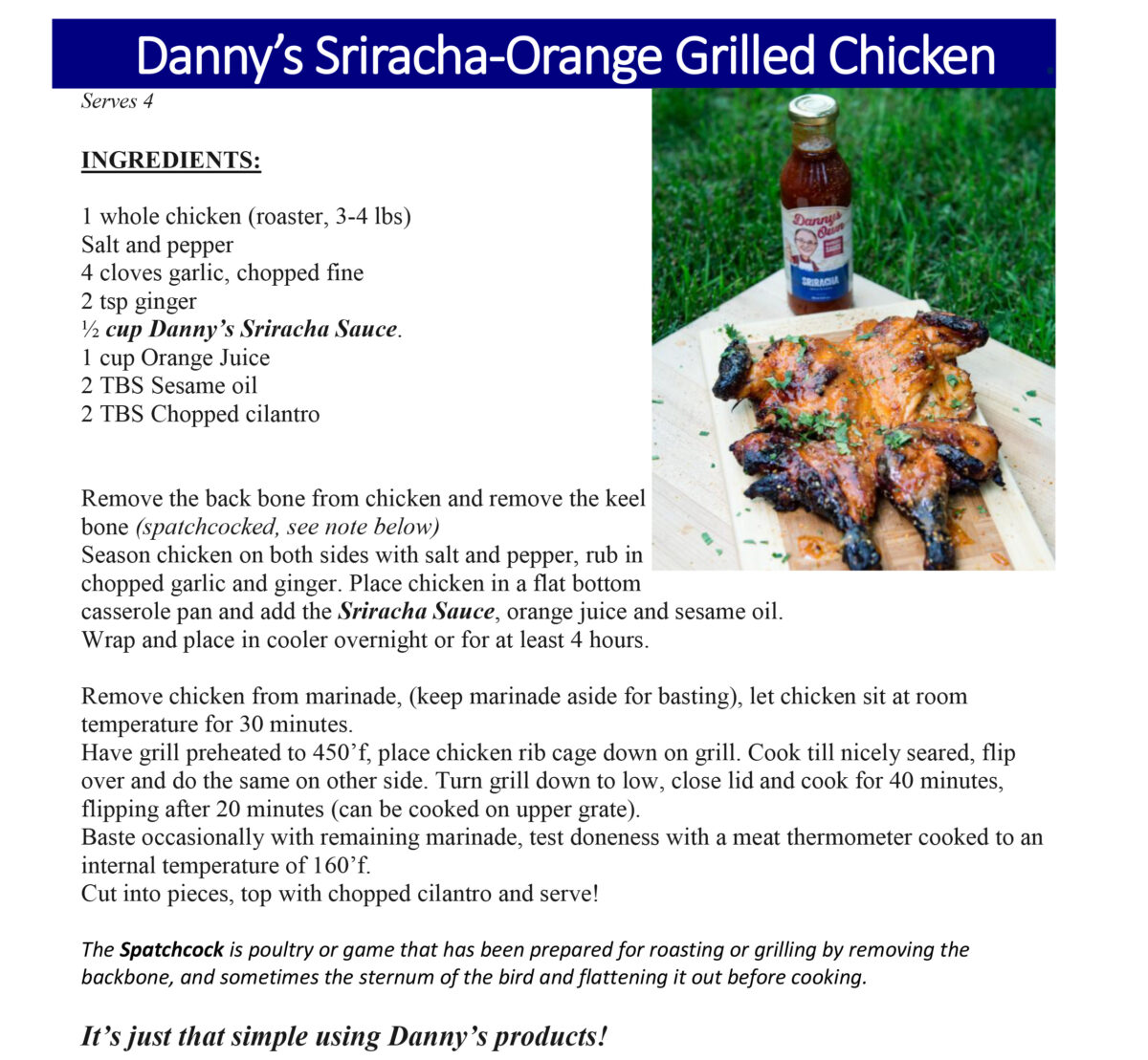 Danny's Spicy Sriracha-Orange Chicken
