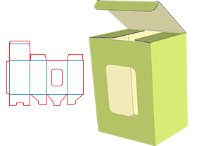 The upper end is open, and the lower end is a single box with inserted bottom structure. The box body is designed with a window to display the main body of the packaged product.