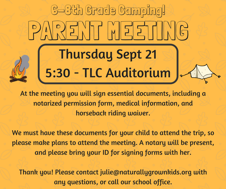 6-8th Grade Camping - Parent Meeting