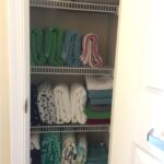 Towels can be stored vertically.