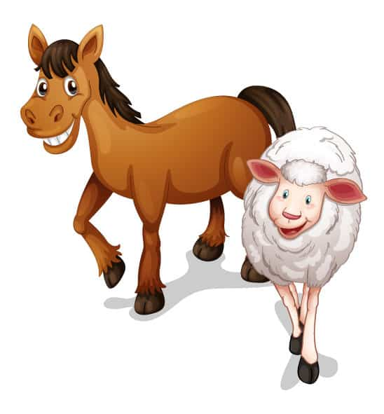 join email invitation from cute horse and sheep farm animals