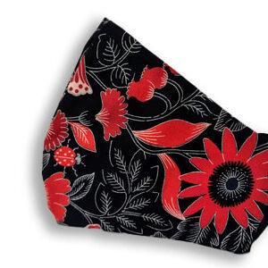 Red flowers on black