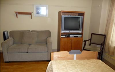Resident rooms include a hide-a-bed and TV