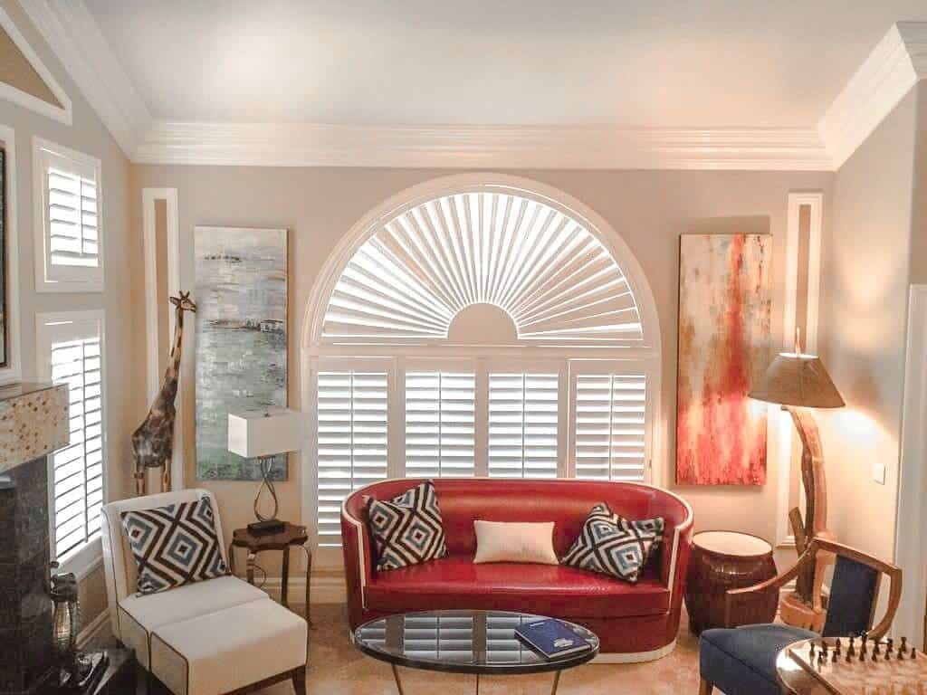 shutters with arch living room red loveseat - Home