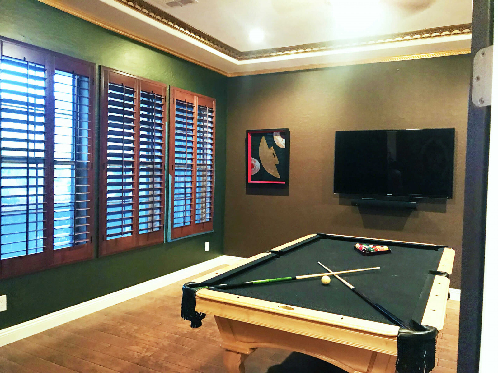 shutters green room pool table - Home