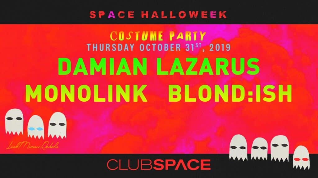Flyer for Club Space Halloween Party
