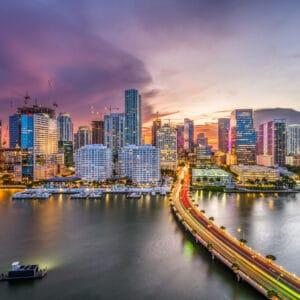 Miami, Florida, USA downtown city skyline.