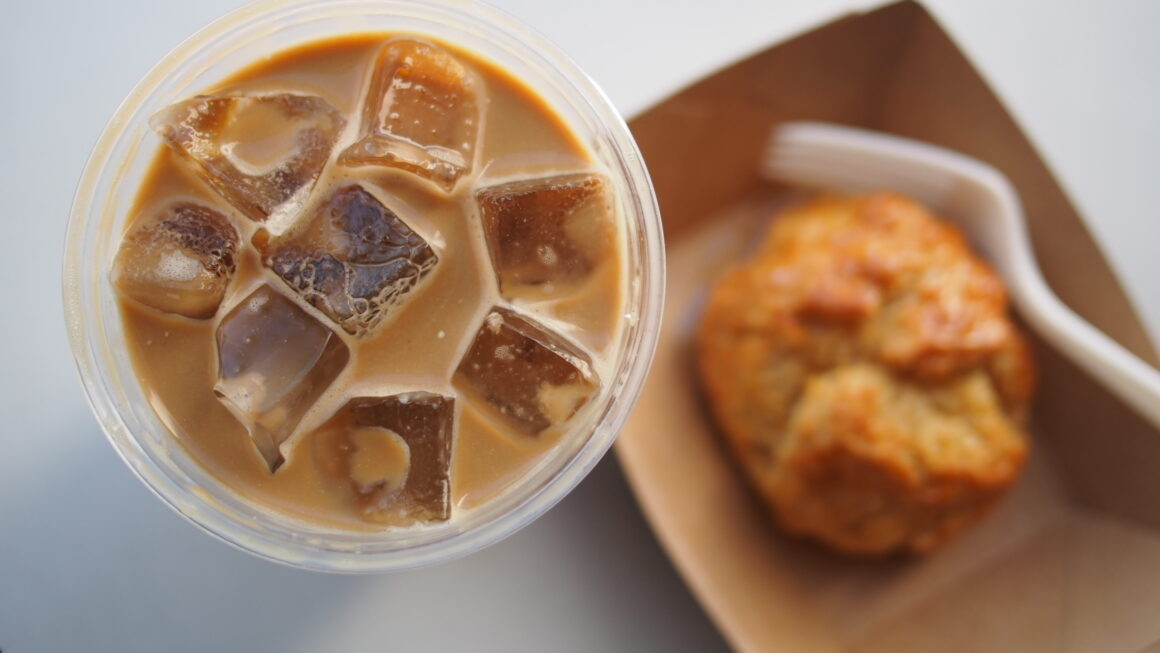 Iced coffee and biscuit