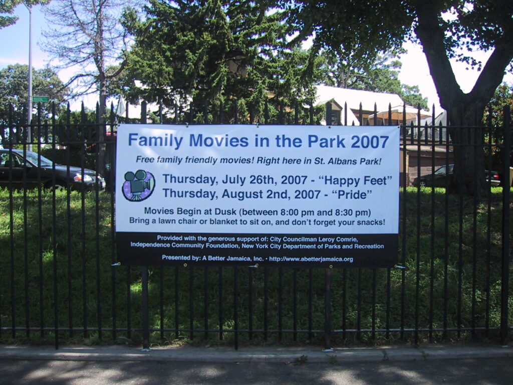 The very first Family Movies in the Park Banner