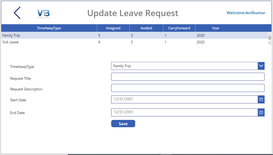 power apps leave management user leave requests