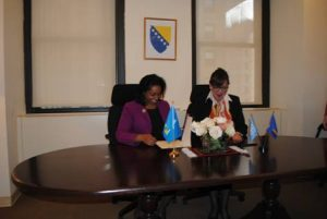 Signing Ceremony at the Permanent Mission of Bosnia and Herzegovina to the United Nations in New York; H.E. Ms. Menissa Rambally and H.E. Ms. Mirsada Čolaković