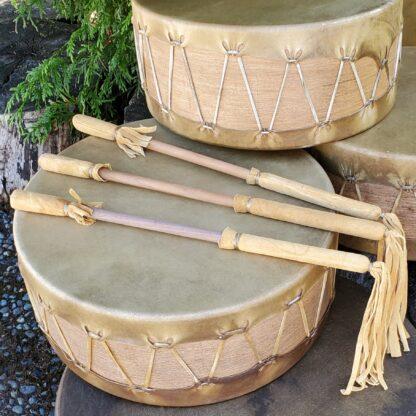 Native American drum beater made from brain-tanned smokedbuckskin