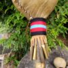 Medicine rattle yarn with metal cone fringe