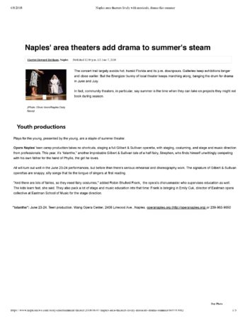 Naples' area theaters add drama to summer's steam