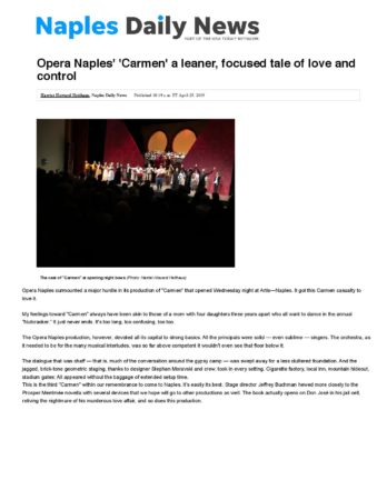 Opera Naples' 'Carmen' a leaner, focused tale of love and control