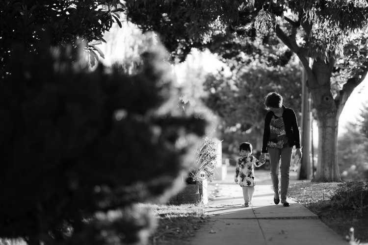 Woman walking with granddaughter