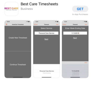 Best Care mobile app for PCA timesheets