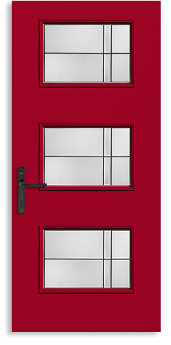 Therma-Tru Pulse entry door with four lites in a contemporary design