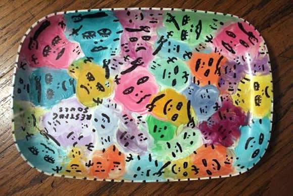 original howard finster plate painting