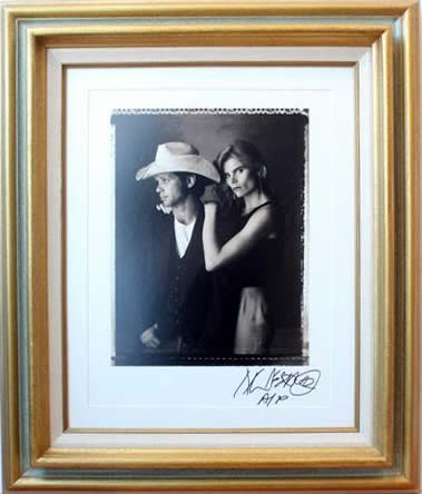 Marc Hauser signed photograph John Mellencamp & Mariel Hemmingway Silver Gelatin Fiber Print