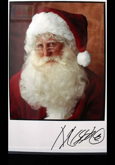 Marc Hauser Photograph of Larry Bird Santa Claus Color Fiber Print