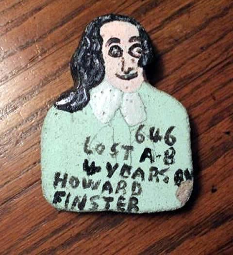 "original howard finster art Thomas Jefferson 4""x3"""