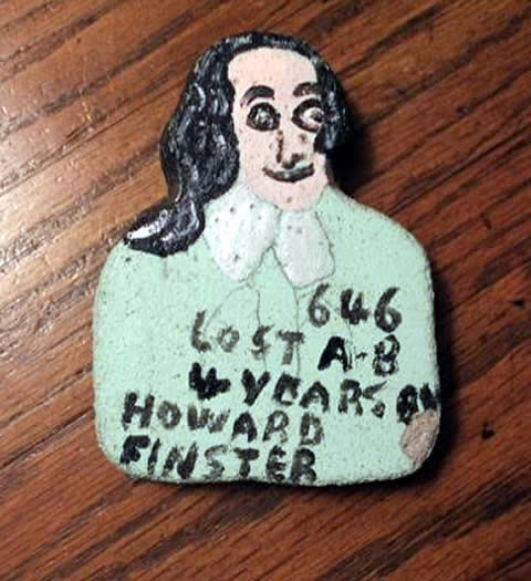 "original howard finster art Thomas Jefferson 4""x3"""