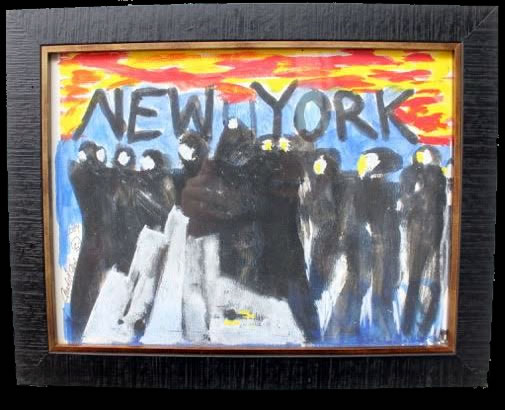 "Andy Kane Painting on Paper - New York 11""x14"" Framed $500"