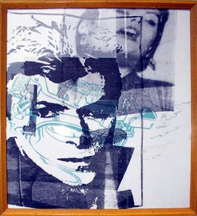 """Peter Mars Serigraph print on fabric - David Bowie #2 22""""x20"""" $1500 Framed"""